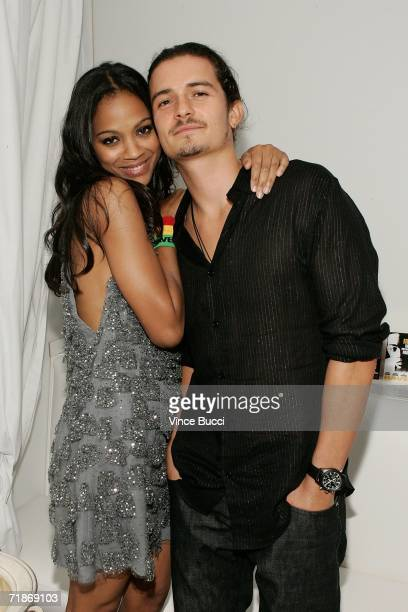 Actress Zoe Saldana and actor Orlando Bloom attend the Los Angeles after party for Yari Film Group's 'Haven' at the Privilege Night Club on September...