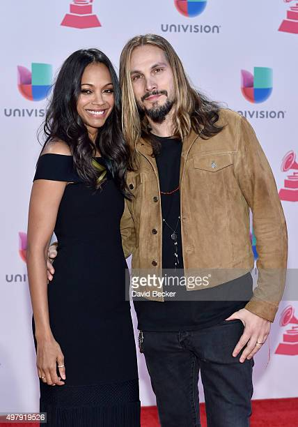 Actress Zoe Saldana and artist Marco Perego attend the 16th Latin GRAMMY Awards at the MGM Grand Garden Arena on November 19, 2015 in Las Vegas,...