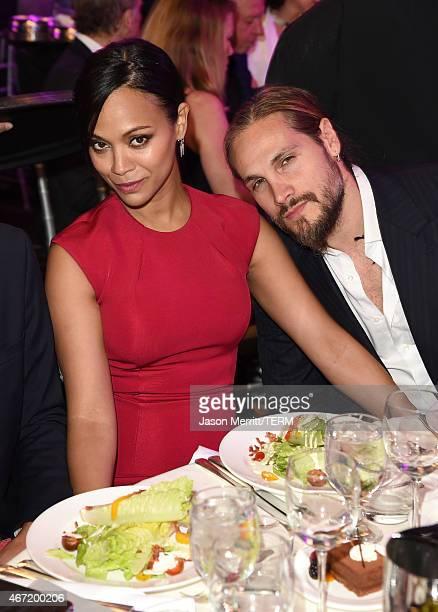 Actress Zoe Saldana and artist Marco Perego attend the 26th Annual GLAAD Media Awards at The Beverly Hilton Hotel on March 21, 2015 in Beverly Hills,...