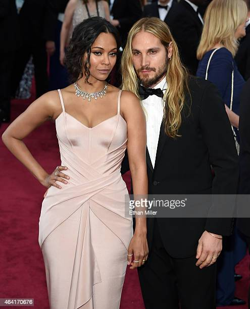 Actress Zoe Saldana and artist Marco Perego attend the 87th Annual Academy Awards at Hollywood & Highland Center on February 22, 2015 in Hollywood,...