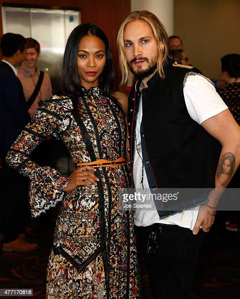 """Actress Zoe Saldana and artist Marco Perego attend the """"Infinitely Polar Bear"""" premiere during the 2015 Los Angeles Film Festival at Regal Cinemas..."""