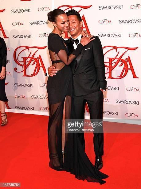 Actress Zoe Saldana and designer Prabal Gurung attend 2012 CFDA Fashion Awards at Alice Tully Hall on June 4, 2012 in New York City.