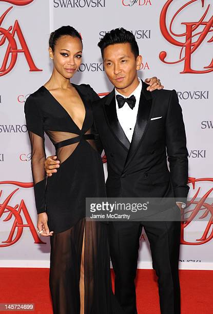 Actress Zoe Saldana and designer Prabal Gurung attend the 2012 CFDA Fashion Awards at Alice Tully Hall on June 4, 2012 in New York City.