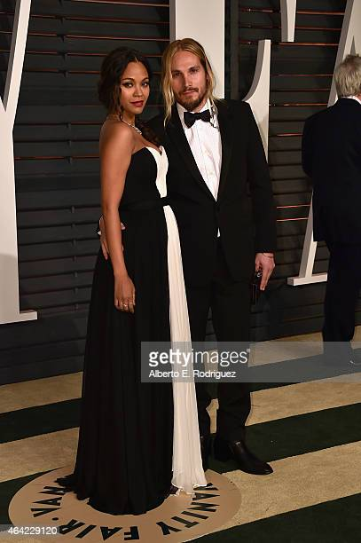Actress Zoe Saldana and director Marco Perego attend the 2015 Vanity Fair Oscar Party hosted by Graydon Carter at Wallis Annenberg Center for the...