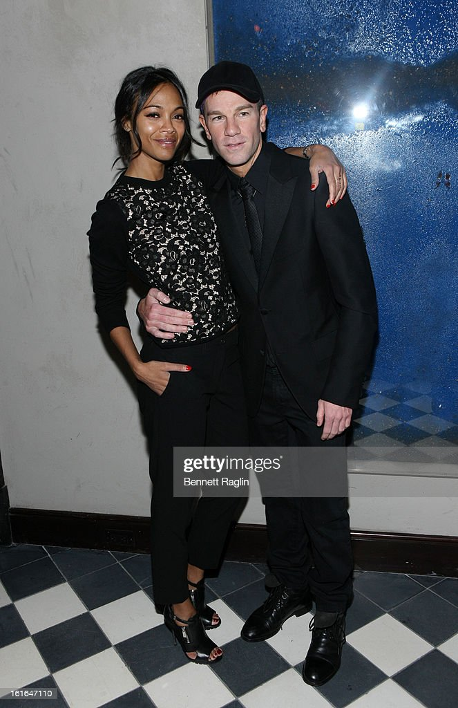 Actress Zoe Saldana and Gents CEO and Founder Josh Reed attend the Gents launch event at Gramercy Terrace at The Gramercy Park Hotel on February 13, 2013 in New York City.
