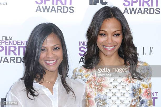 Actress Zoe Saldana and her sister arrive at the 2012 Film Independent Spirit Awards at Santa Monica Pier on February 25, 2012 in Santa Monica,...