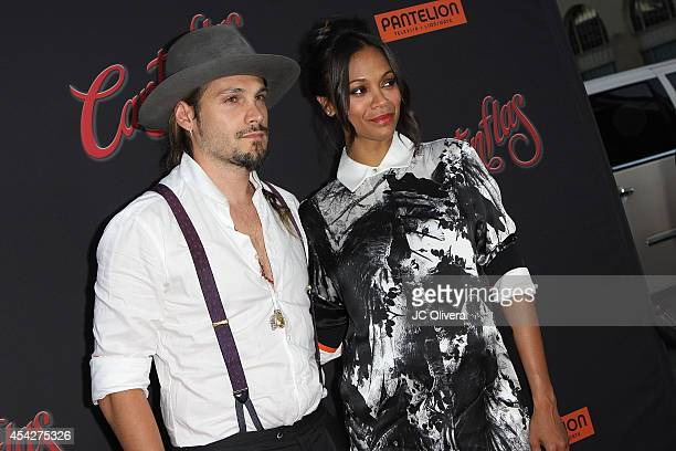 """Actress Zoe Saldana and husband Marco Perego attend """"Cantinflas"""", Los Angeles Premiere at TCL Chinese Theatre on August 27, 2014 in Hollywood,..."""