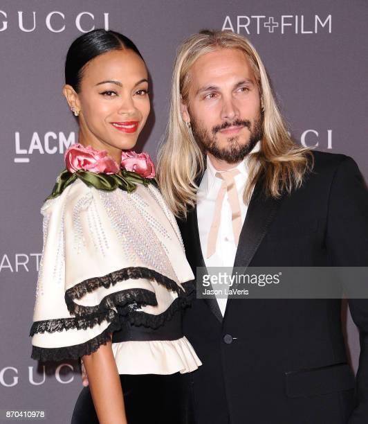 Actress Zoe Saldana and husband Marco Perego attend the 2017 LACMA Art + Film gala at LACMA on November 4, 2017 in Los Angeles, California.