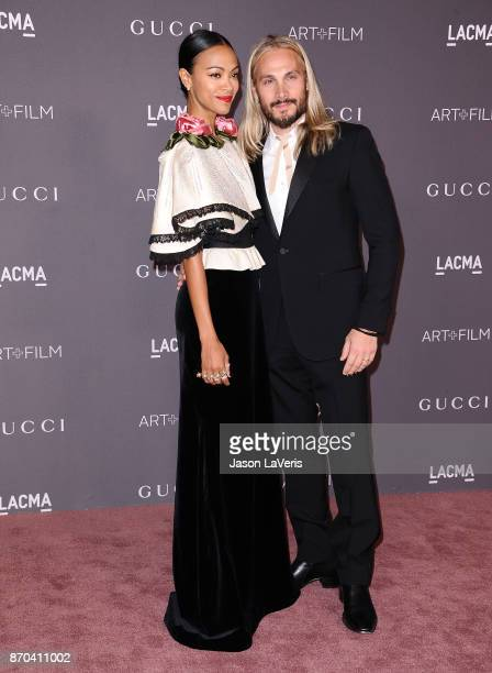 Actress Zoe Saldana and husband Marco Perego attend the 2017 LACMA Art Film gala at LACMA on November 4 2017 in Los Angeles California
