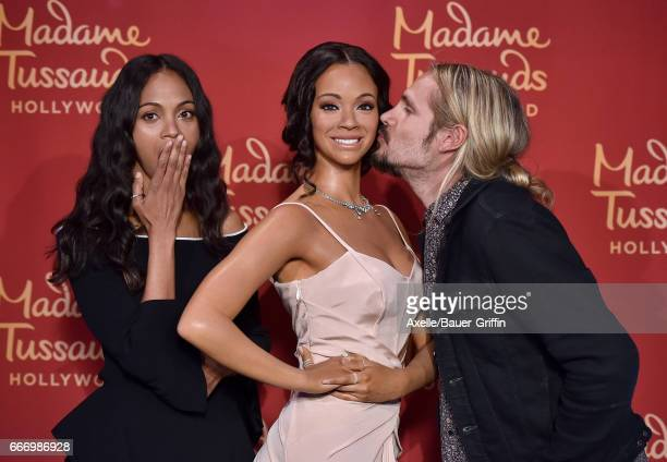 Actress Zoe Saldana and husband Marco Perego attend the unveiling of Zoe Saldana's wax figure at Madame Tussauds on April 7 2017 in Hollywood...
