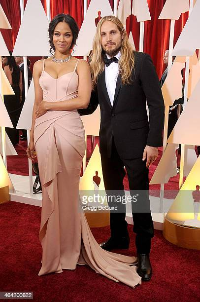 Actress Zoe Saldana and Marco Perego arrive at the 87th Annual Academy Awards at Hollywood & Highland Center on February 22, 2015 in Hollywood,...
