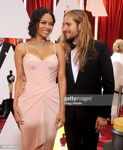Actress Zoe Saldana and Marco Perego arrive at the 87th Annual Academy Awards at Hollywood Highland Center on February 22 2015 in Hollywood California