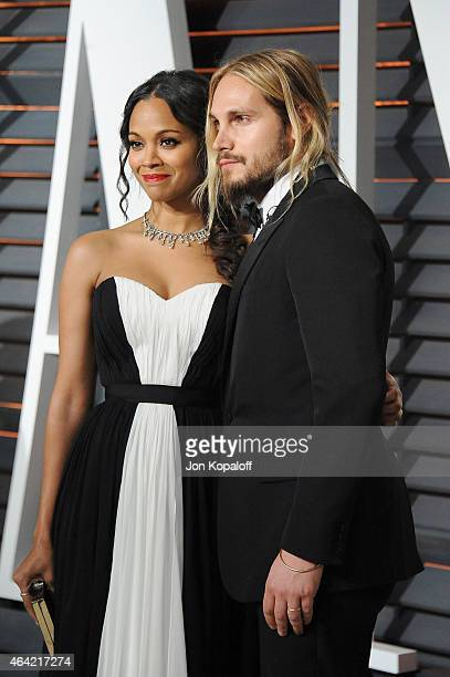 Actress Zoe Saldana and Marco Perego attend the 2015 Vanity Fair Oscar Party hosted by Graydon Carter at Wallis Annenberg Center for the Performing...