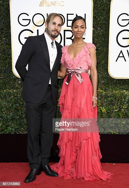 Actress Zoe Saldana and Marco Perego attend the 74th Annual Golden Globe Awards at The Beverly Hilton Hotel on January 8 2017 in Beverly Hills...