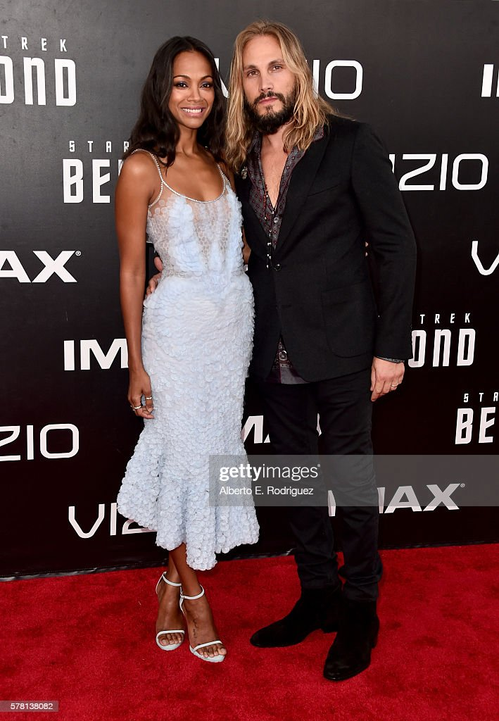 Actress Zoe Saldana (L) and Marco Perego attend the premiere of Paramount Pictures' 'Star Trek Beyond' at Embarcadero Marina Park South on July 20, 2016 in San Diego, California.