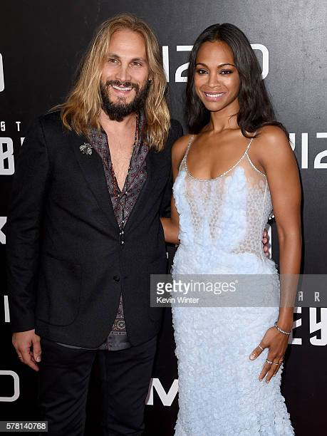 Actress Zoe Saldana and Marco Perego attend the premiere of Paramount Pictures' 'Star Trek Beyond' at Embarcadero Marina Park South on July 20 2016...