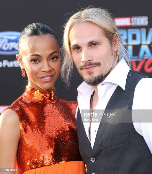 Actress Zoe Saldana and Marco Perego attend world premiere of Disney and Marvel's' 'Guardians Of The Galaxy 2' at Dolby Theatre on April 19, 2017 in...