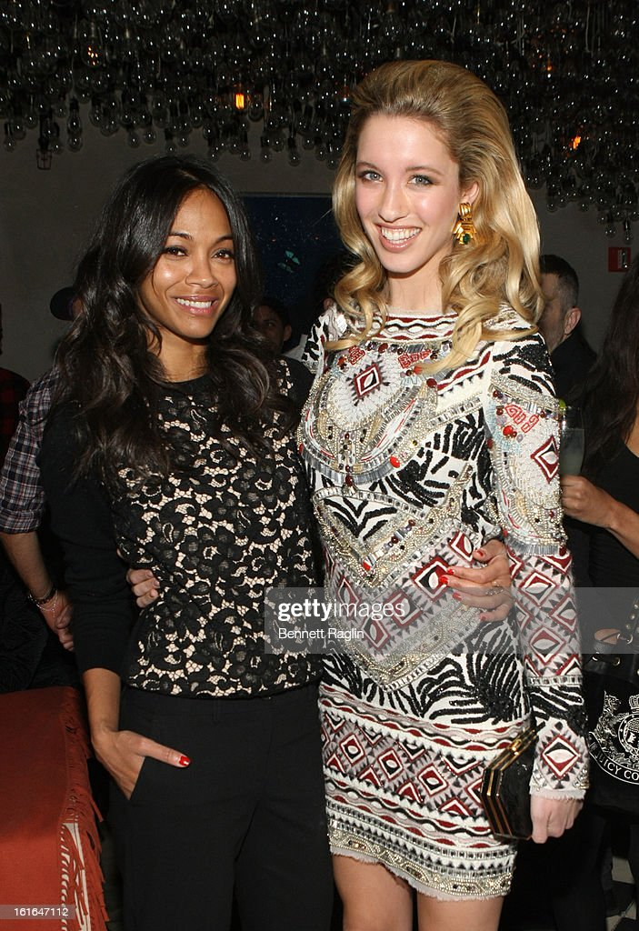 Actress Zoe Saldana and model Melissa Bolona attend the Gents launch event at Gramercy Terrace at The Gramercy Park Hotel on February 13, 2013 in New York City.