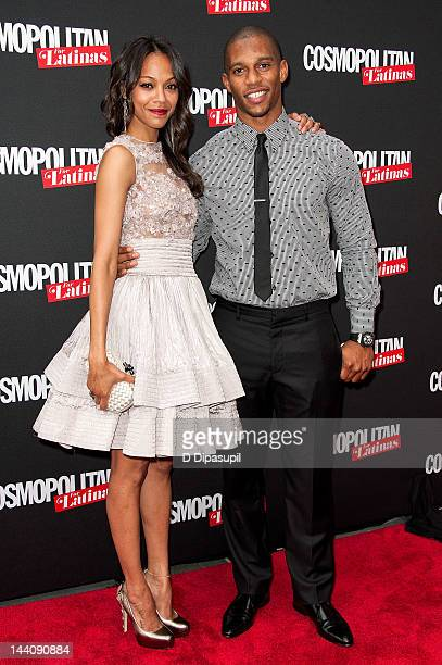 Actress Zoe Saldana and NFL player Victor Cruz attend the Cosmopolitan For Latina's Premiere Issue Party at Press Lounge at Ink48 on May 9, 2012 in...