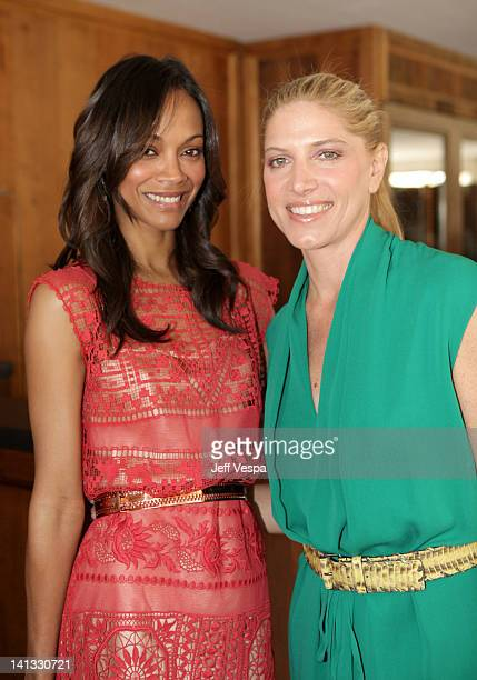 Actress Zoe Saldana and Stylist Petra Flannery attend the The Hollywood Reporter & Jimmy Choo Inaugural 25 Most Powerful Stylists Luncheon at Soho...