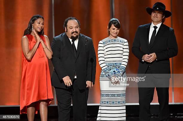 Actress Zoe Saldana animator Jorge Gutierrez actress Mia Maestro and writerdirector Robert Rodriguez speak onstage during the 2014 NCLR ALMA Awards...