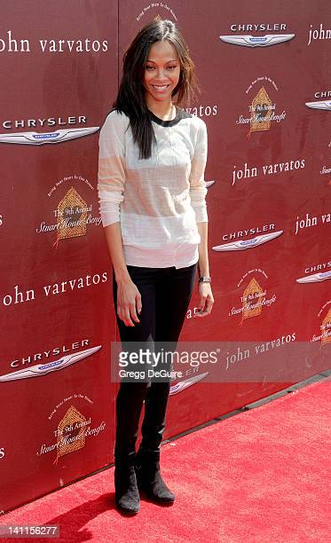 Actress Zoe Saldana arrives at John Varvatos 9th Annual Stuart House Benefit at John Varvatos Los Angeles on March 11, 2012 in Los Angeles,...