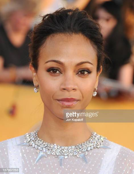 Actress Zoe Saldana arrives at the 18th Annual Screen Actors Guild Awards held at The Shrine Auditorium on January 29, 2012 in Los Angeles,...