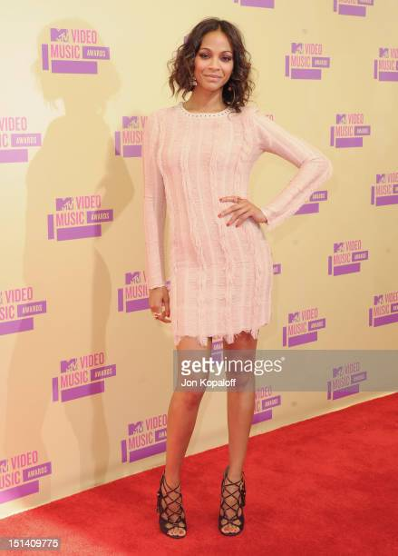 Actress Zoe Saldana arrives at the 2012 MTV Video Music Awards at Staples Center on September 6 2012 in Los Angeles California
