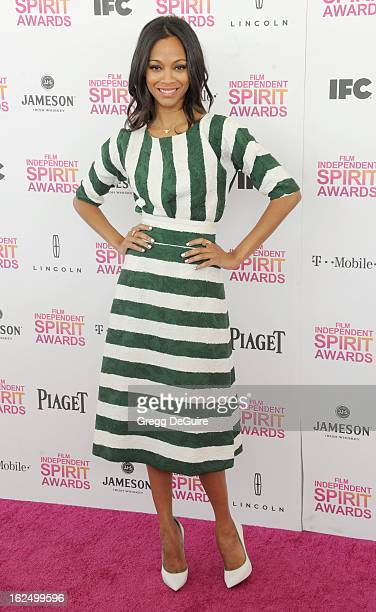 Actress Zoe Saldana arrives at the 2013 Film Independent Spirit Awards at Santa Monica Beach on February 23 2013 in Santa Monica California
