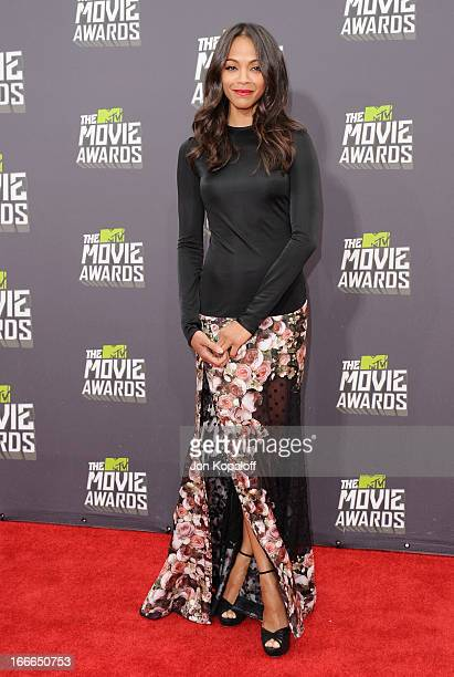 Actress Zoe Saldana arrives at the 2013 MTV Movie Awards at Sony Pictures Studios on April 14 2013 in Culver City California