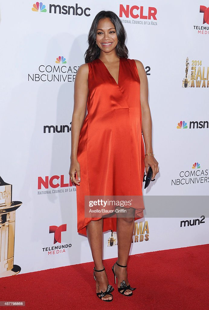 Actress Zoe Saldana arrives at the 2014 NCLR ALMA Awards at Pasadena Civic Auditorium on October 10, 2014 in Pasadena, California.