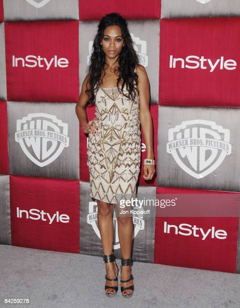 Actress Zoe Saldana arrives at the 66th Annual Golden Globe Awards InStyle Warner Bros Official After Party at the Oasis Court at The Beverly Hilton...