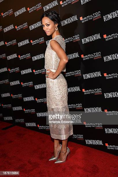Actress Zoe Saldana arrives at the 7th Annual Hamilton Behind The Camera Awards at The Wilshire Ebell Theatre on November 10 2013 in Los Angeles...