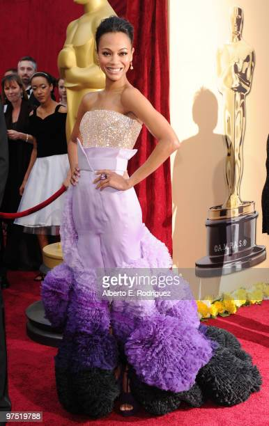 Actress Zoe Saldana arrives at the 82nd Annual Academy Awards held at Kodak Theatre on March 7 2010 in Hollywood California