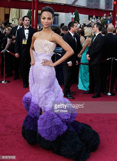 Actress Zoe Saldana arrives at the 82nd Annual Academy Awards held at the Kodak Theatre on March 7 2010 in Hollywood California