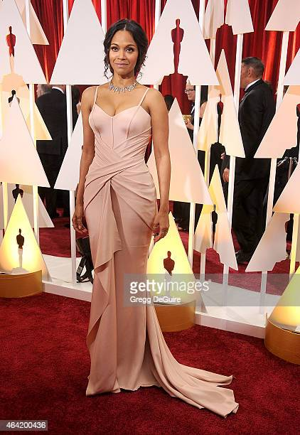 Actress Zoe Saldana arrives at the 87th Annual Academy Awards at Hollywood Highland Center on February 22 2015 in Hollywood California