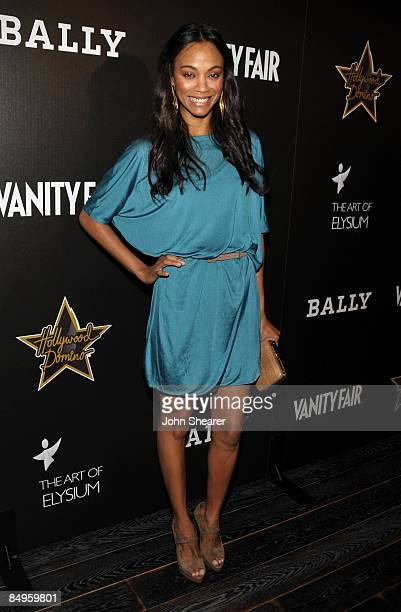 Actress Zoe Saldana arrives at the Bally and Vanity Fair Hollywood Domino Game Night benefiting The Art of Elysium held at Andaz on February 20, 2009...