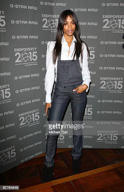 Actress Zoe Saldana arrives at the GStar Spring 2009 Collection during MercedesBenz Fashion Week at the Park Avenue Armory on September 11 2008 in...