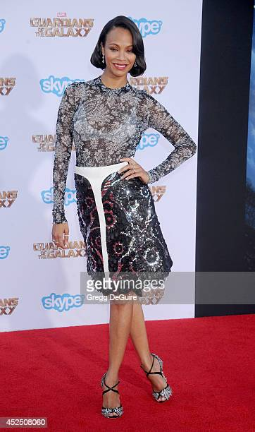 Actress Zoe Saldana arrives at the Los Angeles premiere of Marvel's 'Guardians Of The Galaxy' at the El Capitan Theatre on July 21 2014 in Hollywood...