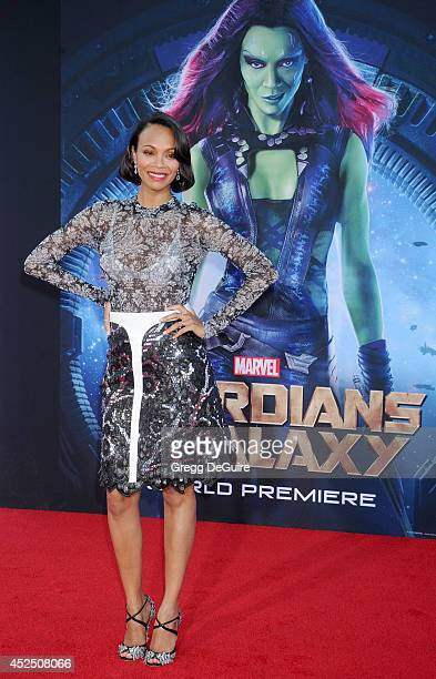 """Actress Zoe Saldana arrives at the Los Angeles premiere of Marvel's """"Guardians Of The Galaxy"""" at the El Capitan Theatre on July 21, 2014 in..."""