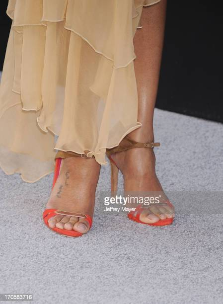 Actress Zoe Saldana arrives at the Los Angeles premiere of 'Star Trek Into Darkness' at Dolby Theatre on May 14 2013 in Hollywood California