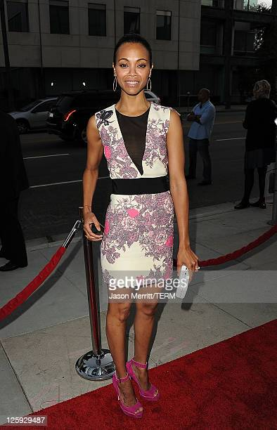 Actress Zoe Saldana arrives at the Machine Gun Preacher Los Angeles premiere at Academy of Television Arts Sciences on September 21 2011 in Beverly...