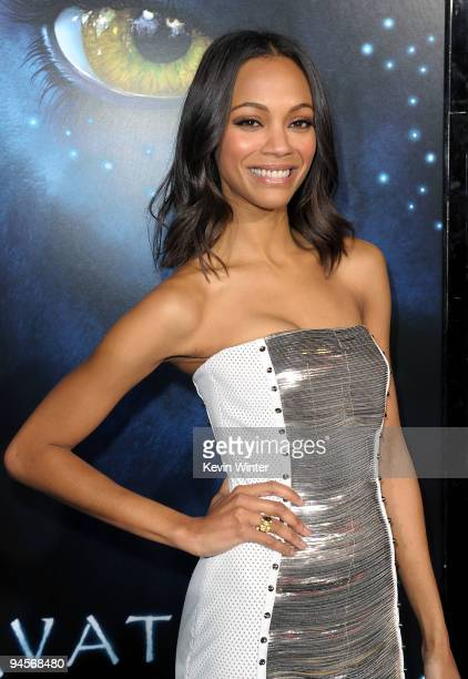Actress Zoe Saldana arrives at the premiere of 20th Century Fox's 'Avatar' at the Grauman's Chinese Theatre on December 16 2009 in Hollywood...