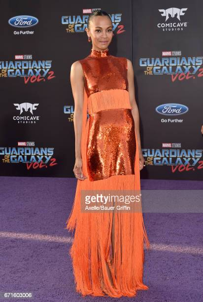 Actress Zoe Saldana arrives at the premiere of Disney and Marvel's 'Guardians of the Galaxy Vol. 2' at Dolby Theatre on April 19, 2017 in Hollywood,...