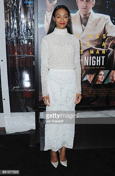 Actress Zoe Saldana arrives at the Premiere of Live By Night at TCL Chinese Theatre on January 9 2017 in Hollywood California