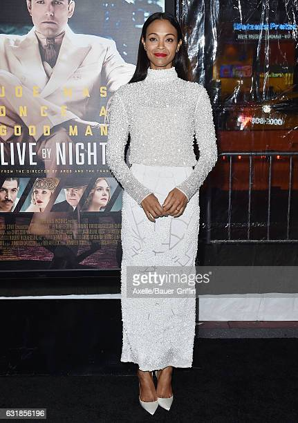 Actress Zoe Saldana arrives at the Premiere of 'Live By Night' at TCL Chinese Theatre on January 9 2017 in Hollywood California