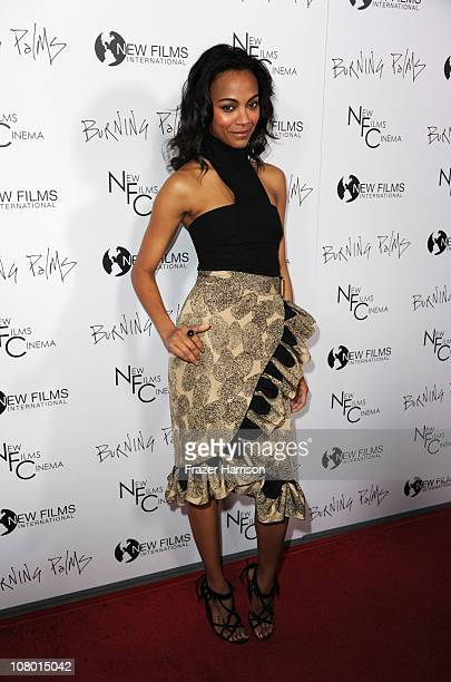 Actress Zoe Saldana arrives at the premiere of New Films Cinemas Burning Palms at the Arclight Hollywood on January 12 2011 in Los Angeles California