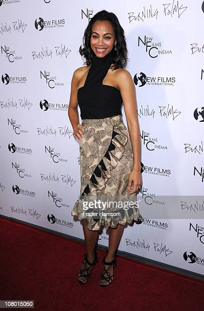 "Actress Zoe Saldana arrives at the premiere of New Films Cinemas ""Burning Palms"" at the Arclight Hollywood on January 12, 2011 in Los Angeles,..."