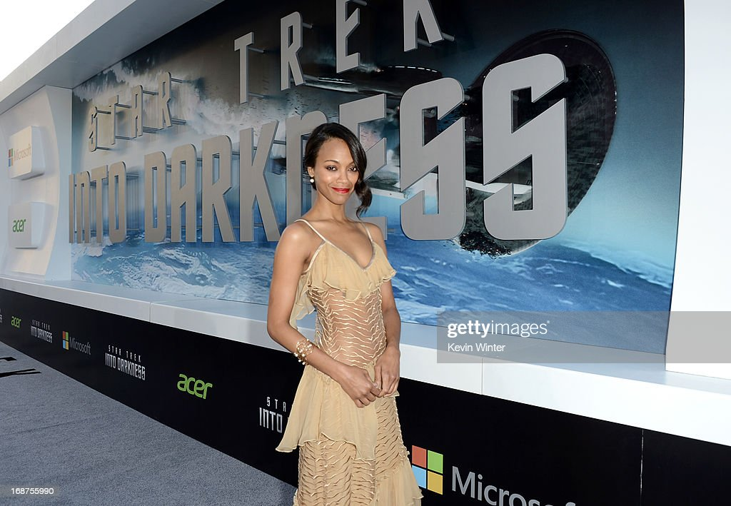 Actress Zoe Saldana arrives at the Premiere of Paramount Pictures' 'Star Trek Into Darkness' at Dolby Theatre on May 14, 2013 in Hollywood, California.