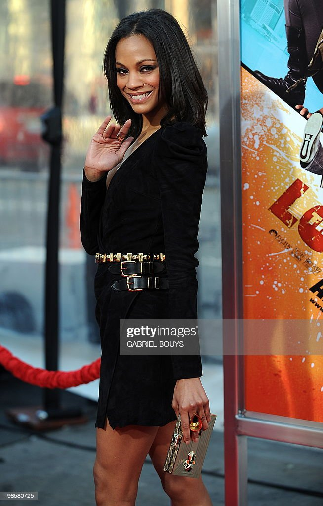 Actress Zoe Saldana arrives at the premiere of 'The Losers' in Hollywood, California, on April 20, 2010.